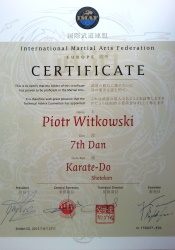 dyplom karate - International Martial Arts Federation